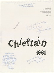 Page 7, 1961 Edition, University High School - Chieftain Yearbook (Los Angeles, CA) online yearbook collection