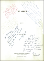 Page 7, 1959 Edition, Central High School - Arrow Yearbook (Aberdeen, SD) online yearbook collection