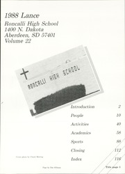 Page 5, 1988 Edition, Roncalli High School - Lance Yearbook (Aberdeen, SD) online yearbook collection