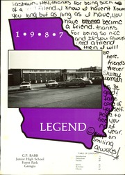 Page 5, 1987 Edition, Babb Middle School - Legend Yearbook (Forest Park, GA) online yearbook collection