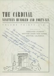 Page 5, 1946 Edition, Whittier Union High School - Cardinal Yearbook (Whittier, CA) online yearbook collection