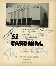 Page 5, 1952 Edition, Whittier Union High School - Cardinal Yearbook (Whittier, CA) online yearbook collection