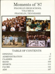 Page 5, 1987 Edition, Franklin High School - Cornerstone Yearbook (Franklin, TN) online yearbook collection