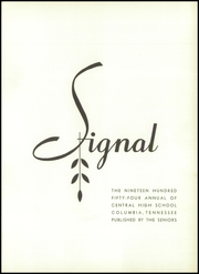 Page 5, 1954 Edition, Central High School - Signal Yearbook (Columbia, TN) online yearbook collection