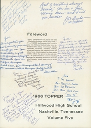 Page 5, 1966 Edition, Hillwood High School - Topper Yearbook (Nashville, TN) online yearbook collection