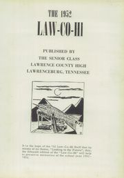 Page 5, 1952 Edition, Lawrence County High School - Law Co Hi Yearbook (Lawrenceburg, TN) online yearbook collection