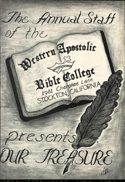 Page 7, 1962 Edition, Western Apostolic Bible College - Our Treasure Yearbook (Stockton, CA) online yearbook collection