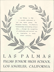 Page 7, 1961 Edition, Palms Junior High School - Las Palmas Yearbook (Los Angeles, CA) online yearbook collection