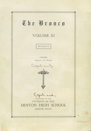 Page 5, 1916 Edition, Denton High School - Bronco Yearbook (Denton, TX) online yearbook collection