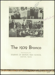 Page 5, 1939 Edition, Denton High School - Bronco Yearbook (Denton, TX) online yearbook collection