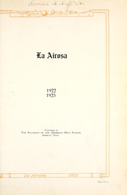 Page 9, 1923 Edition, Amarillo High School - La Airosa Yearbook (Amarillo, TX) online yearbook collection