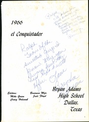 Page 5, 1966 Edition, Bryan Adams High School - El Conquistador Yearbook (Dallas, TX) online yearbook collection