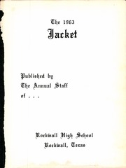 Page 5, 1963 Edition, Rockwall High School - Jacket Yearbook (Rockwall, TX) online yearbook collection