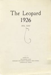 Gainesville High School - Leopard Yearbook (Gainesville, TX) online yearbook collection, 1926 Edition, Page 1