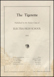 Page 5, 1931 Edition, Electra High School - Bengal Yearbook (Electra, TX) online yearbook collection