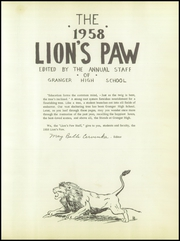 Page 5, 1958 Edition, Granger High School - Lions Paw Yearbook (Granger, TX) online yearbook collection