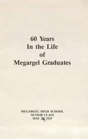 1929 Edition, Megargel High School - Mustang Yearbook (Megargel, TX)