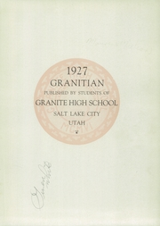 Page 5, 1927 Edition, Granite High School - Granitian Yearbook (Salt Lake City, UT) online yearbook collection