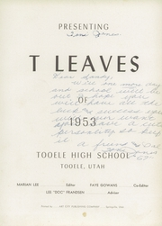 Page 5, 1953 Edition, Tooele High School - Yearbook (Tooele, UT) online yearbook collection