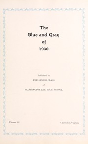Page 9, 1930 Edition, Washington Lee High School - Blue and Gray Yearbook (Arlington, VA) online yearbook collection