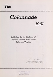 Page 7, 1961 Edition, Culpeper County High School - Colonnade Yearbook (Culpeper, VA) online yearbook collection