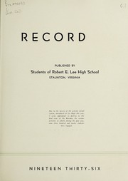 Page 7, 1936 Edition, Robert E Lee High School - Record Yearbook (Staunton, VA) online yearbook collection
