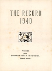 Page 7, 1940 Edition, Robert E Lee High School - Record Yearbook (Staunton, VA) online yearbook collection