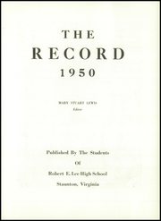 Page 7, 1950 Edition, Robert E Lee High School - Record Yearbook (Staunton, VA) online yearbook collection