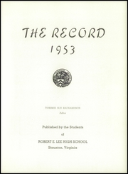 Page 7, 1953 Edition, Robert E Lee High School - Record Yearbook (Staunton, VA) online yearbook collection