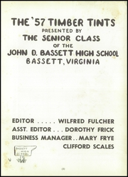 Page 7, 1957 Edition, John D Bassett High School - Timber Tints Yearbook (Bassett, VA) online yearbook collection