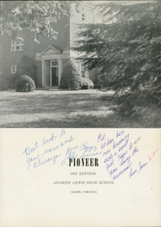 Page 5, 1955 Edition, Andrew Lewis High School - Pioneer Yearbook (Salem, VA) online yearbook collection