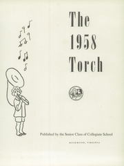 Page 5, 1958 Edition, Collegiate High School - Torch Yearbook (Richmond, VA) online yearbook collection