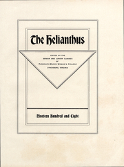 Page 3, 1908 Edition, Randolph College - Helianthus Yearbook (Lynchburg, VA) online yearbook collection