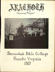 Page 3, 1967 Edition, Shenandoah Bible College - Anathoth Yearbook (Roanoke, VA) online yearbook collection