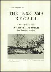 Page 10, 1958 Edition, Augusta Military Academy - Recall Yearbook (Fort Defiance, VA) online yearbook collection