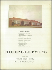 Page 5, 1958 Edition, Climax High School - Eagle Yearbook (Chatham, VA) online yearbook collection