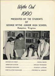 Page 9, 1960 Edition, George Wythe Junior High School - Owl Yearbook (Hampton, VA) online yearbook collection