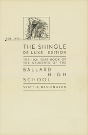 Page 7, 1931 Edition, Ballard High School - Shingle Yearbook (Seattle, WA) online yearbook collection
