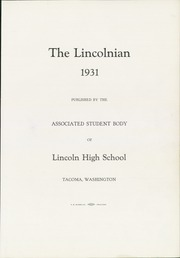 Page 7, 1931 Edition, Lincoln High School - Lincolnian Yearbook (Tacoma, WA) online yearbook collection