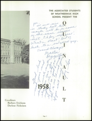 Page 7, 1958 Edition, Weatherwax High School - Quinault Yearbook (Aberdeen, WA) online yearbook collection