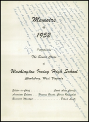 Page 5, 1952 Edition, Washington Irving High School - Reminiscences Yearbook (Clarksburg, WV) online yearbook collection