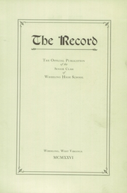 Page 7, 1926 Edition, Wheeling High School - Record Yearbook (Wheeling, WV) online yearbook collection