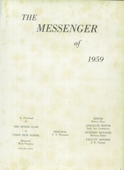 Page 5, 1959 Edition, Union High School - Messenger Yearbook (Benwood, WV) online yearbook collection