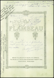 Page 5, 1922 Edition, Lincoln High School - Flambeau Yearbook (Manitowoc, WI) online yearbook collection