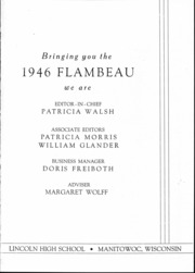 Page 4, 1946 Edition, Lincoln High School - Flambeau Yearbook (Manitowoc, WI) online yearbook collection
