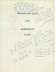Page 5, 1958 Edition, Marinette High School - Whipurnette Yearbook (Marinette, WI) online yearbook collection