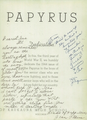 Page 7, 1944 Edition, Kaukauna High School - Papyrus Yearbook (Kaukauna, WI) online yearbook collection