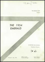 Page 5, 1954 Edition, Waterford High School - Emerald Yearbook (Waterford, WI) online yearbook collection