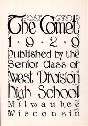 Page 9, 1929 Edition, West Division High School - Comet Yearbook (Milwaukee, WI) online yearbook collection