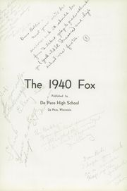 Page 7, 1940 Edition, De Pere High School - Fox Yearbook (De Pere, WI) online yearbook collection